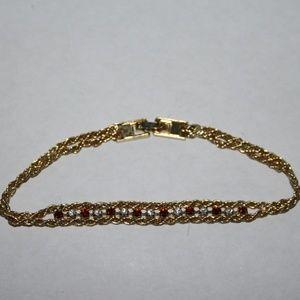"Beuatiful vintage gold ruby and cz bracelet 7.5"""